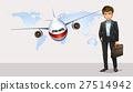 Businessman and airplane flying in background 27514942