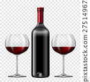 Two glasses of red wine and bottle of wine 27514967