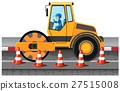 Man driving road roller on the road 27515008