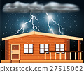 Scene with thunderstorms over the house 27515062