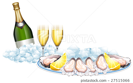 Fresh oysters and champagne bottle 27515066