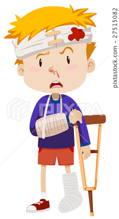 Boy with broken leg and arm 27515082