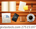 Book and other accessories on wooden table 27515107