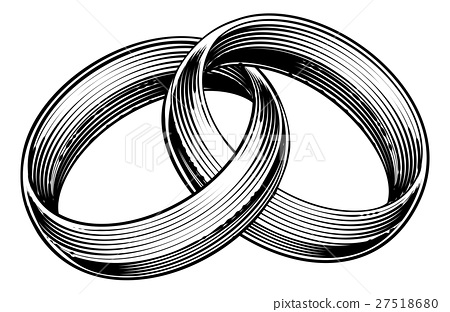 Wedding Rings Bands Engraved Etching Woodcut Style 27518680
