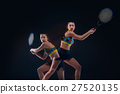 Portrait of beautiful girl tennis player with a 27520135