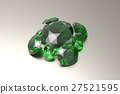 Background with green gemstones. 3D illustration 27521595