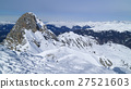 Alpine snowy mountain peaks panorama skiing piste 27521603
