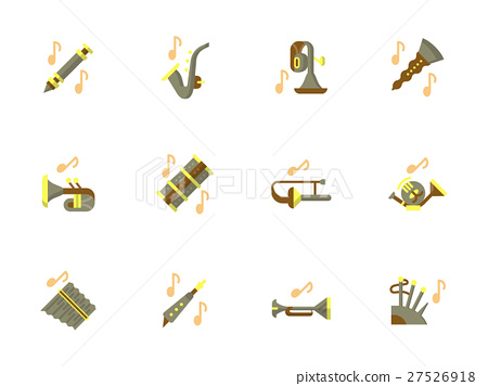 Stylish flat design wind instruments vector icons 27526918