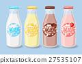 Labels on milk bottles. 27535107