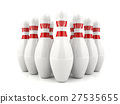 3D bowling pins with red stripes  27535655