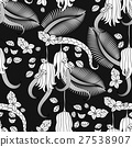 Pattern with tropical plants, flowers and citron 27538907