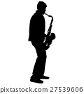 Silhouette musician, saxophonist player  27539606