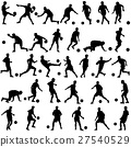 silhouettes of soccer players with the ball Vector 27540529