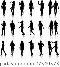 Black silhouettes of beautiful mans and womans  27540573