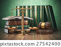 Gold scales of justice, gavel and books 27542400