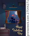 Valentine Day Gift Card Holiday Cat Couple Sitting 27544271