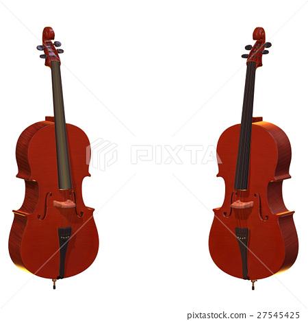 cello musical instrument 3d illustration 27545425