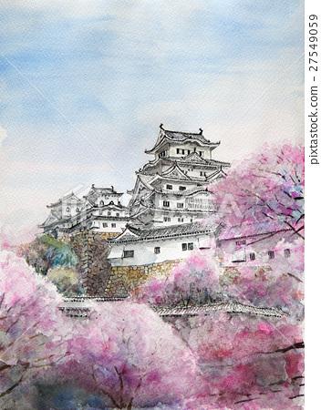 National sky Himeji Castle and Sakura sketch Watercolor painting of Himeji Castle 27549059