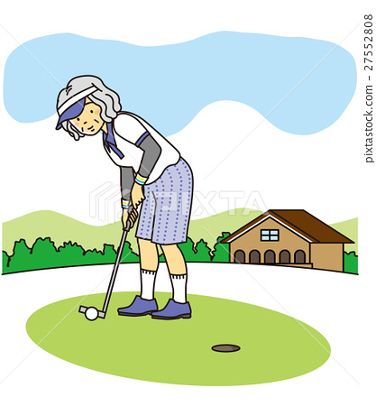 senior, old lady, - Stock Illustration [27552808] - PIXTA on golf putting cartoon, golf club coloring pages, golf clubs woods set, golf fancy dress, funny old lady cartoons,