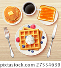 Classic Breakfast Top View Realistic Image  27554639