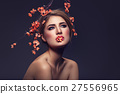 Beautiful girl with sakura branch 27556965