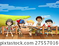 Kids in safari outfit reading map 27557016