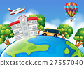 Schoolbus and building on earth 27557040