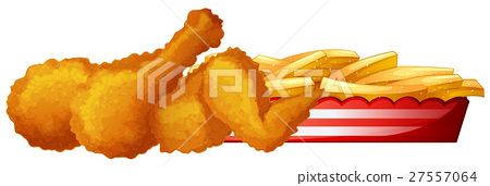 Fried chicken with frenchfries 27557064
