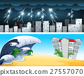 Two disaster scenes with tsunami and thunders 27557070