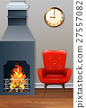 Room with fireplace and armchair 27557082