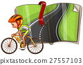 Cyclist and empty road in the book 27557103
