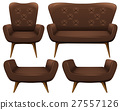 Chairs and sofa in brown color 27557126