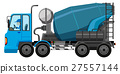 Blue cement truck with driver 27557144