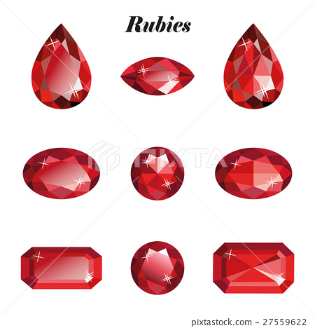 Rubies set isolated 27559622
