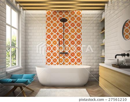 Interior modern bathroom 3D rendering 27561210