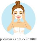 Woman Applying Facial Mask 27563880