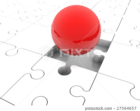 Red balls randomly stacked on puzzle pieces  27564657