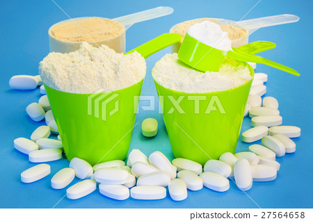 Four scoops with pure whey protein ,creatine,magne 27564658