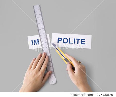 Misbehave Impolite Hands Cut Word Split Concept 27568070