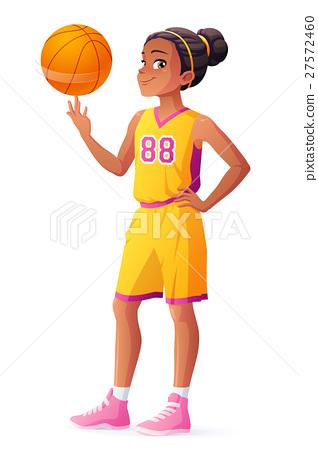 Vector young African basketball player girl 27572460