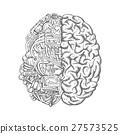 Human brain mechanism engine gears vector sketch 27573525