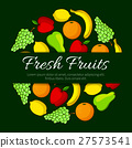 Fresh fruits round vector organic fruit poster 27573541