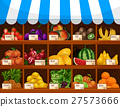 Fruit market vector showcase stand with fruits 27573666