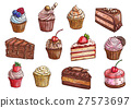 Desserts and sweet cakes sketch vector icons 27573697