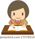 갈색 재킷 여학생 책상에서 공부 미소 27576016