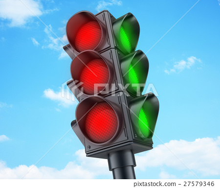 Abstract Traffic lights red 27579346