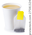 takeaway cup with tea and tea bag isolate 27581324