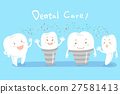 cartoon tooth with dental care 27581413