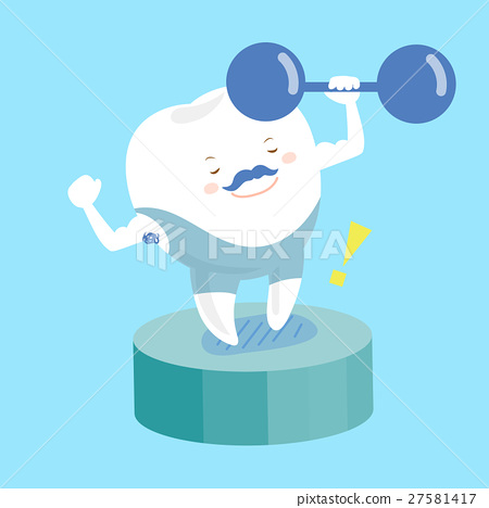 cartoon teeth in fitness 27581417