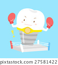 cute cartoon tooth with boxing 27581422